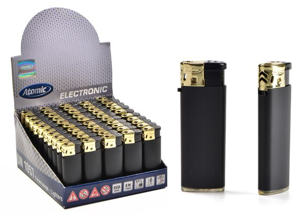 ACCENDINO ATOMIC MINI ELETTRONICO 50pz BLACK GOLD - RICARICABILE