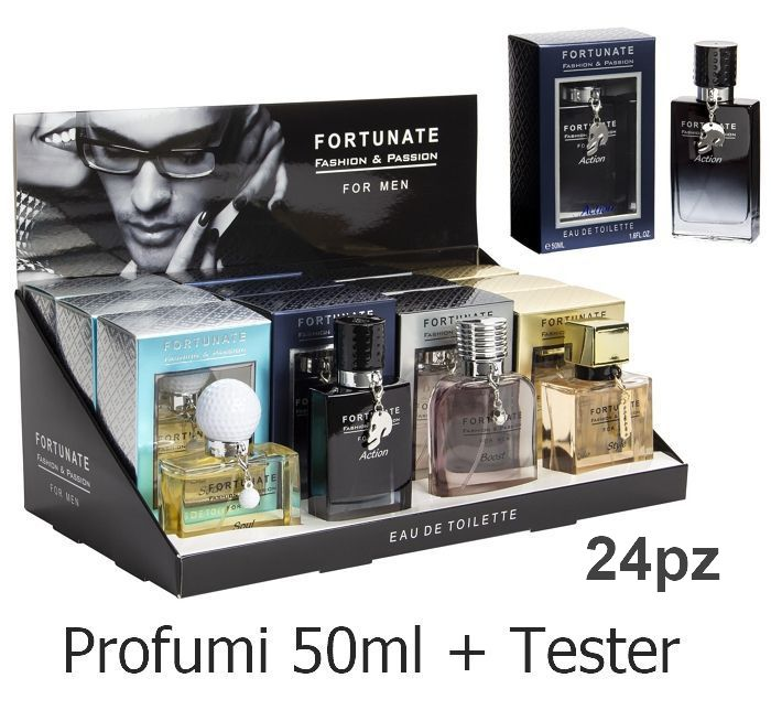 PROFUMO SOLE FORTUNATE 24pz UOMO  50ml + TESTER EXPO C