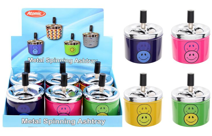 PORTACENERE DA TAVOLO ATOMIC ø 9,5cm METAL 1pz SPINNING SMILE COLORI ASSORTITI