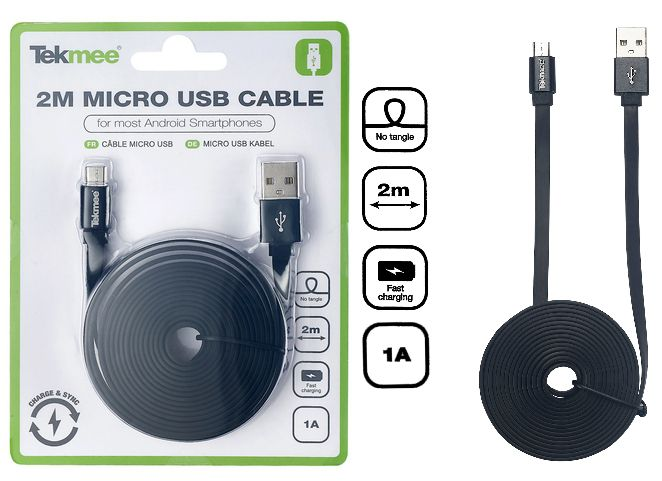 CAVETTO USB MICRO PER ANDROID 2mt - 1pz NERO