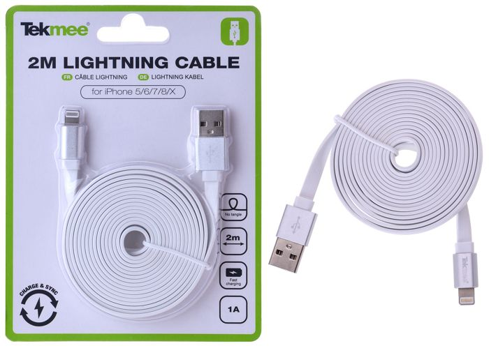 CAVETTO USB PER APPLE 2mt - 1pz BIANCO -  IPHONE APPLE - TEKMEE