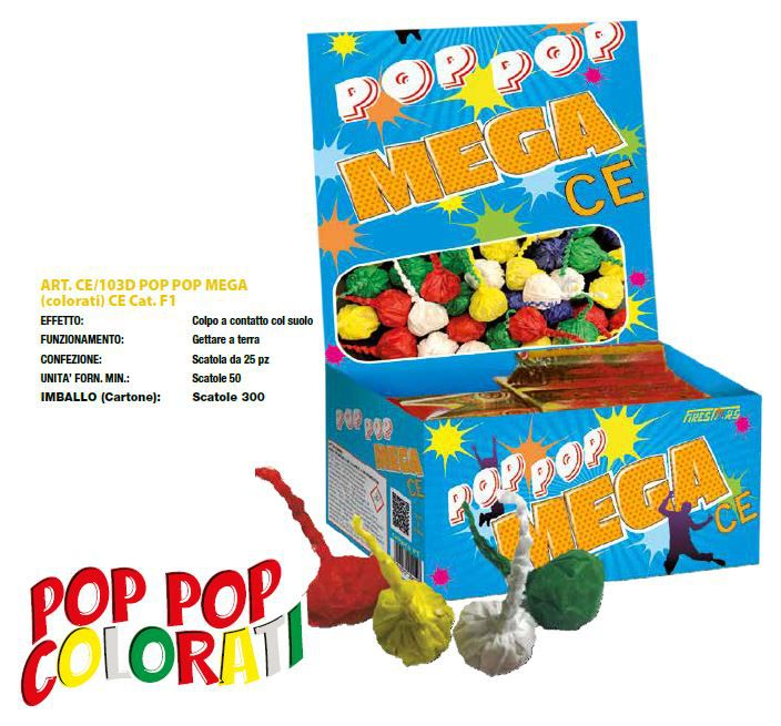 POP POP MEGA COLORATI 50pz - FIRESTAR 2019