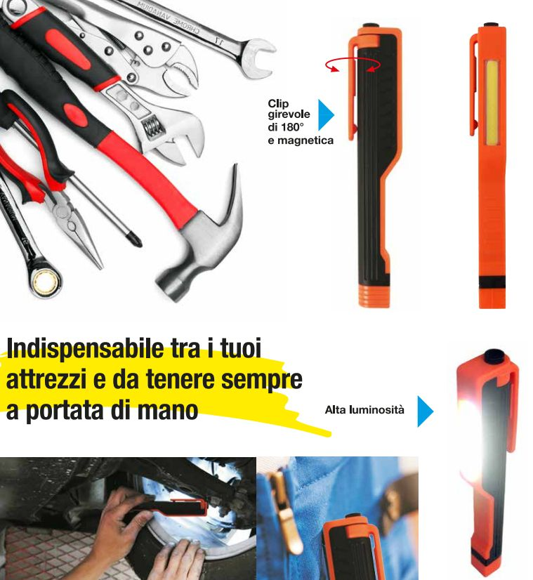 TORCIA WORK CLIP LED 1pz + 3 batterie AAA Duracell (incluse)