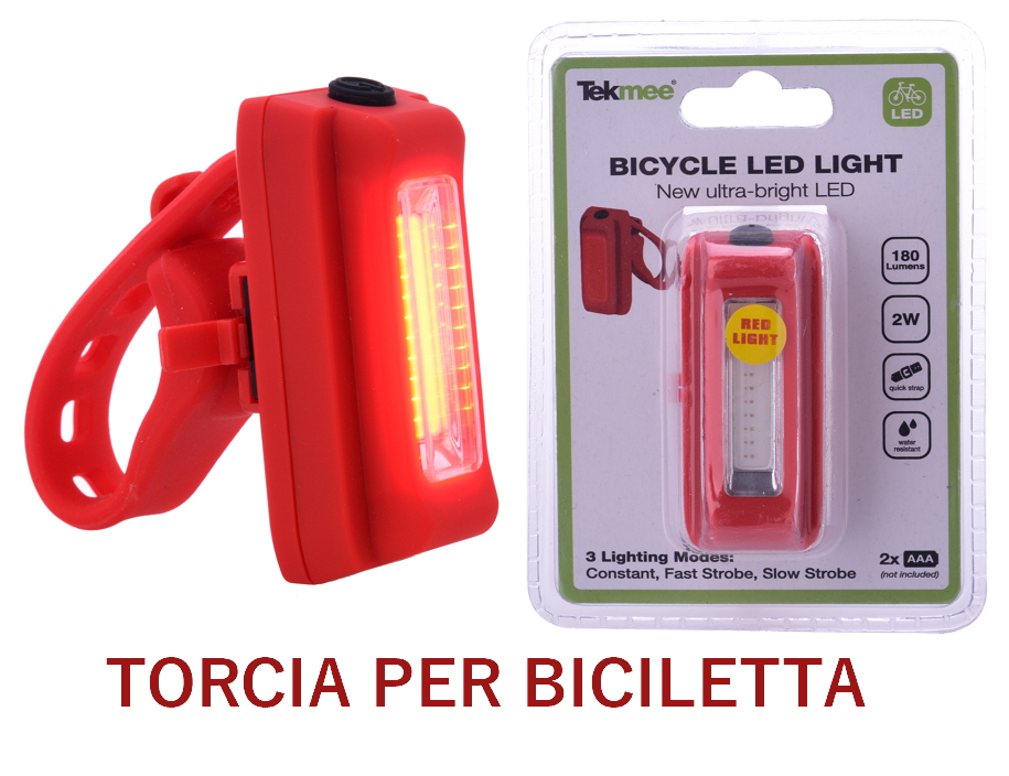 TORCIA LED FRONTALINO BICICLETTA 1pz ROSSO