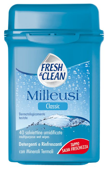 SALVIETTE FRESH CLEAN TRAVEL CLASSIC 40pz MILLEUSI CONFEZIONE RIGIDA