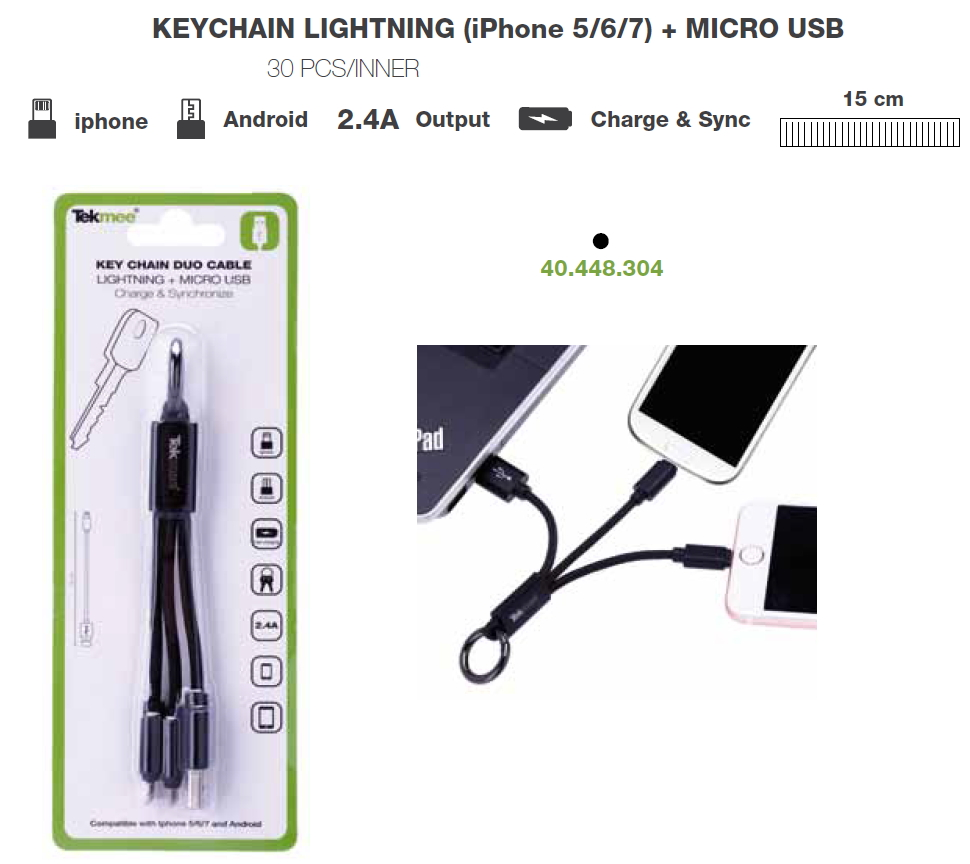 CAVETTO USB + MICRO CON PORTACHIAVI NERO - PER IPHONE 5/6/7 - ANDROID